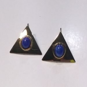 Gold tone Deco Design Earrings.